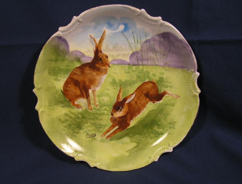 Vintage PRADET Coronet Limoges France Hand Painted Plate w Rabbits Bunnies