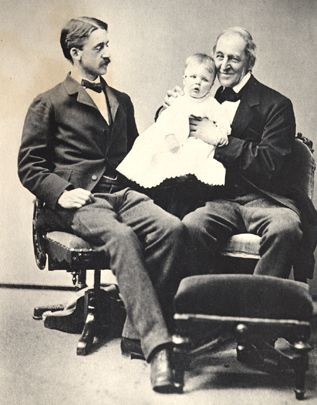 Ralph Waldo Emerson With His Son Edward And Baby Grandson Charles Lowell  Emerson,