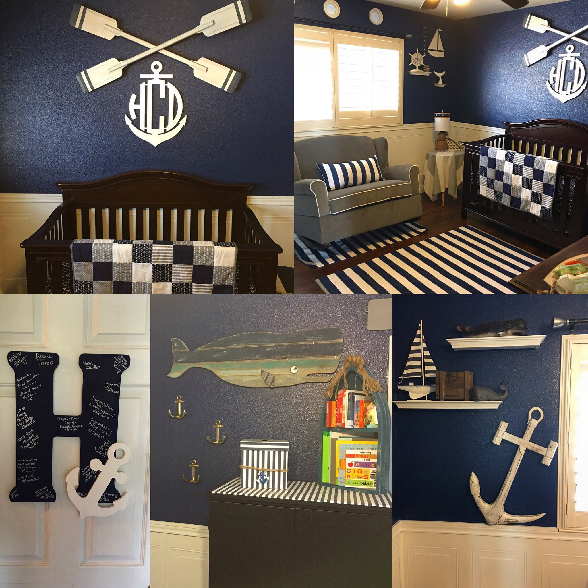 Nautical Nursery Baby Boy Room Navy Blue And White Stripes