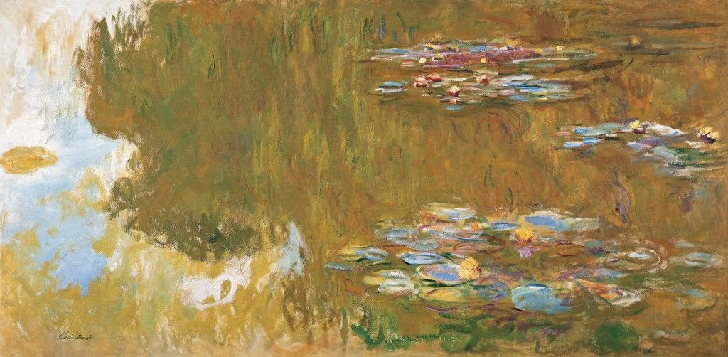 "Claude Monet, ""The Water Lily Pond"" 1917-1919. In these paintings Monet tried to create a sense of expanding infinity/continuity, trying to present the immediate experience of nature. Revelation of the continuity of consciousness"
