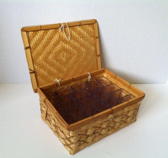 Blowout Sale Bamboo Basket Sewing Box Craft Box Bead Basket