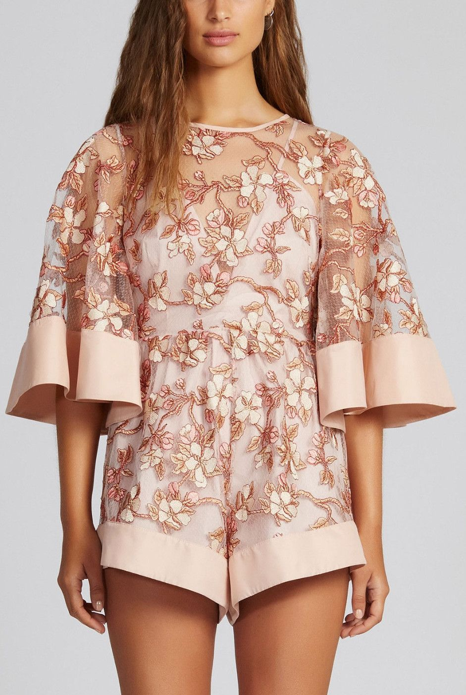 Blush blossomu embroidered playsuit playsuits and products