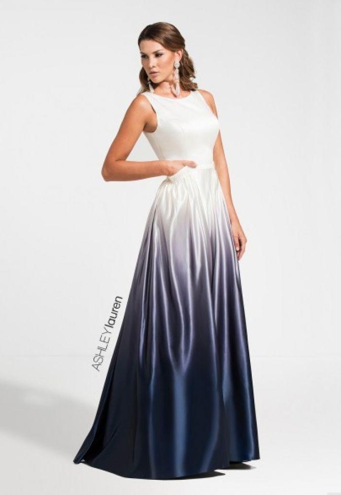 e377e3330c3 1130 A-line Ombre Prom Dress A-LINE Bateau Natural Satin long Grey ...
