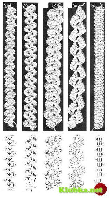 crochet chart - would be cute as crocheted headbands, too. Пляжная ...