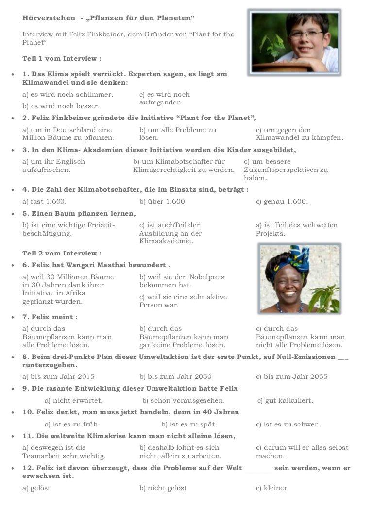 PLANT FOR THE PLANET - Arbeitsblatt zum Hörverständnis zu der ...