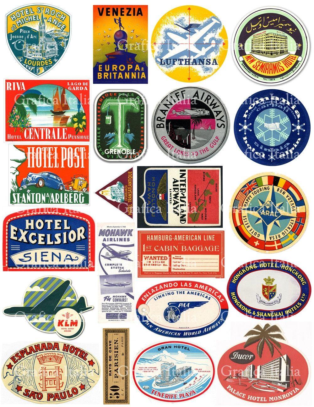 22 Travel Luggage Labels Retro Digital Printable Collage