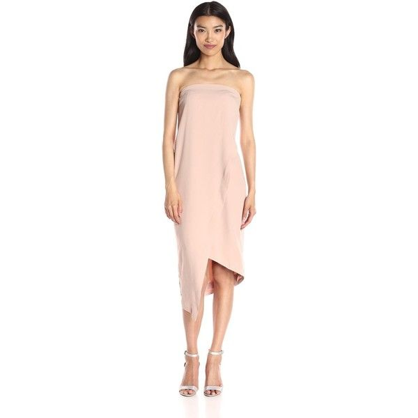Keepsake The Label Women's Visionary Dress ($94) ❤ liked on Polyvore featuring dresses, fitted dresses, pink fitted dress, strapless dresses, overlay dress and pink dress