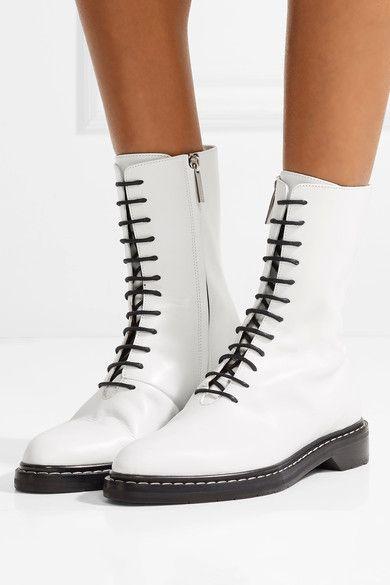 The Row - Fara Leather Ankle Boots - White  c49fb61b04e