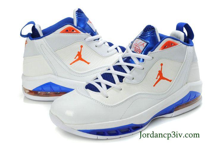 outlet store 75359 ea5e4 Jordan Melo M8 New York Knicks Home Blue White Orange Basketball Shoes