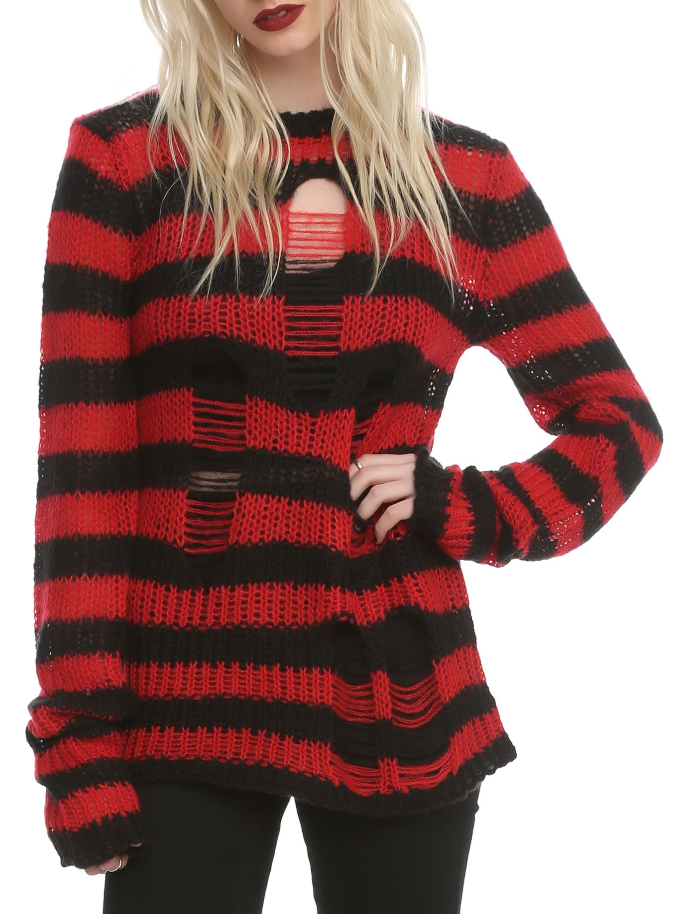 Red And Black Knit Sweater | Her Sweater
