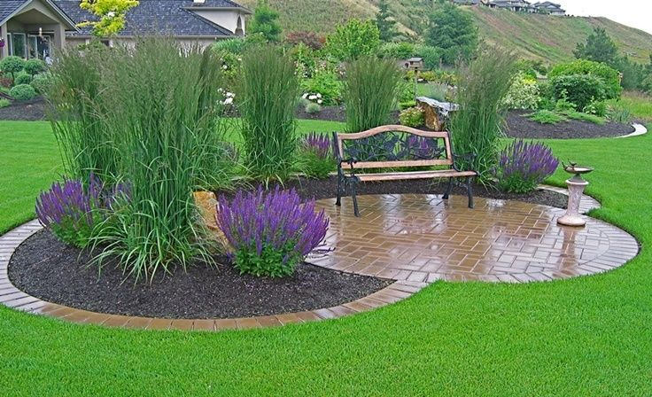 Gräser als Skulptur verwendet - Vorgarten ideen #yardlandscaping