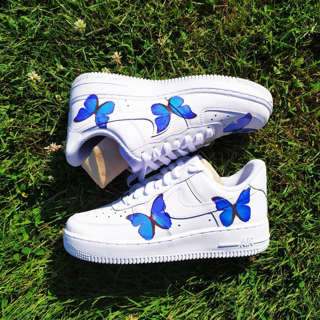 Custom AF1, Butterfly Shoes, Blue butterflies Butterfly