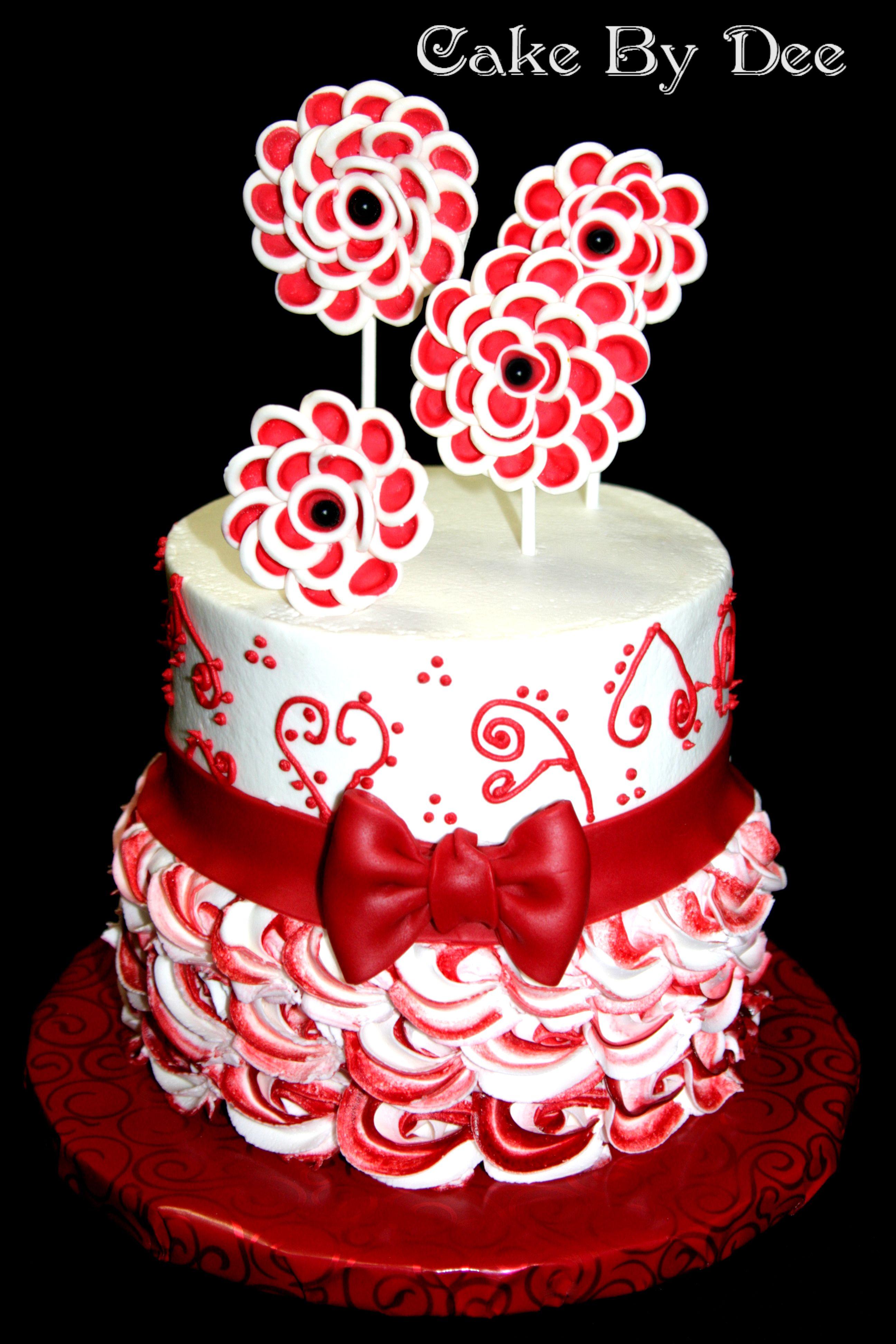 Red And White Birthday Cake Cakes Pinterest Cake White
