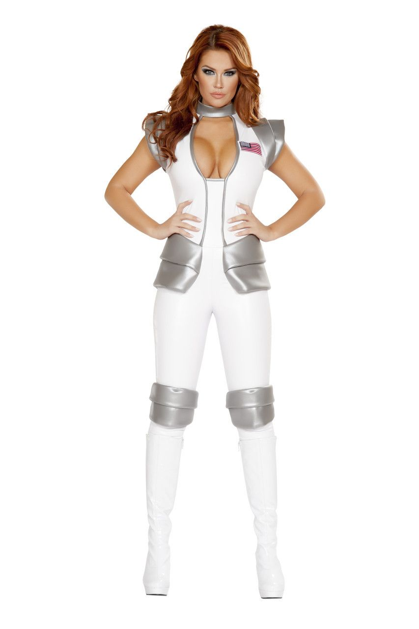 a6abcbe5871 Sexy Roma White Silver Astronaut Commander Space Outerspace Spaceship  Captain Halloween Party Costume Catsuit Jumpsuit