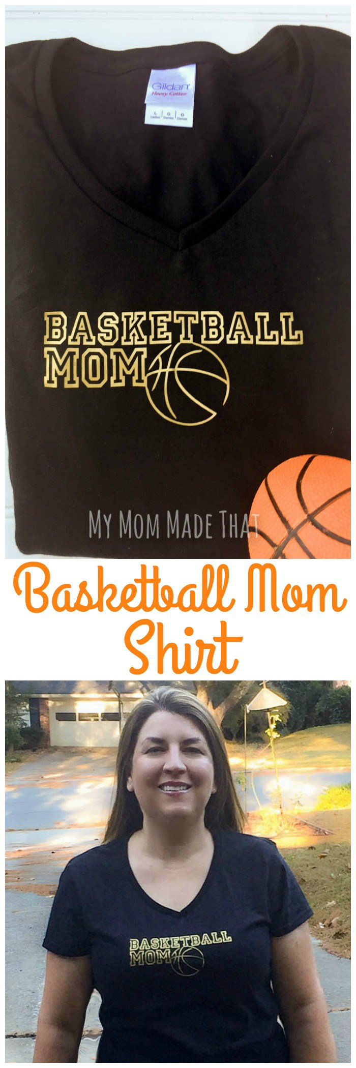 Here's an easy to make Basketball Mom Shirt that is a simple DIY project with Iron-On Vinyl. It's a perfect graphic tee to make with your Cricut machine that any mother can wear to their child's basketball games and tournaments.