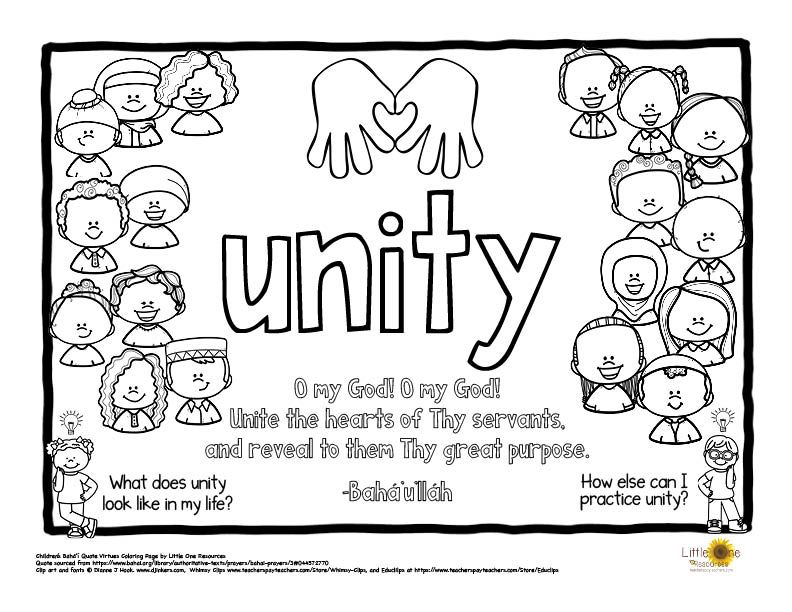 Unity Virtue Word Baha I Quote Coloring Page Bahai Quotes Quote Coloring Pages Coloring Pages