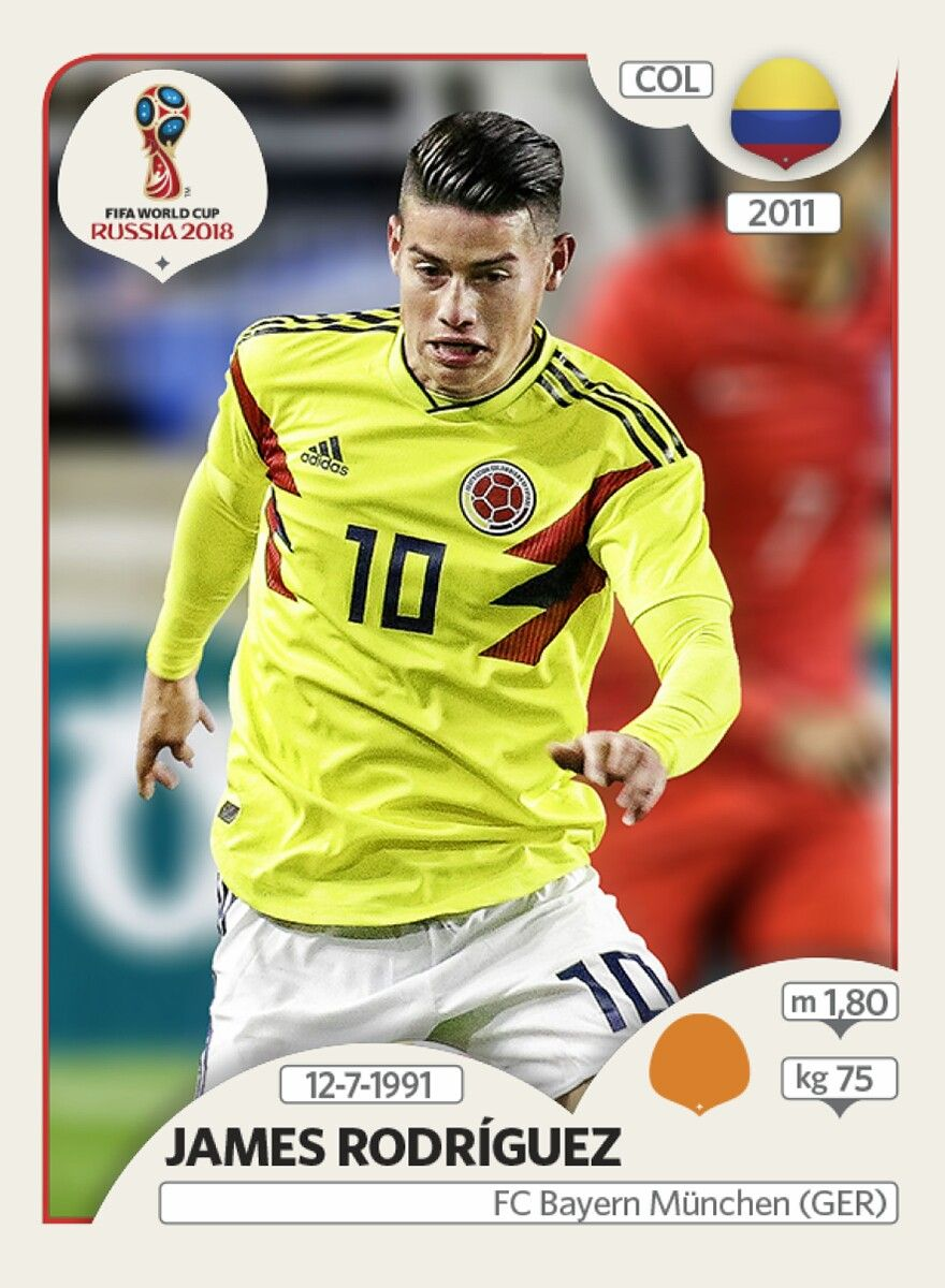 Jamas Rodríguez - Colombia - Panini FIFA world cup Russia 2018 ... 61d063278