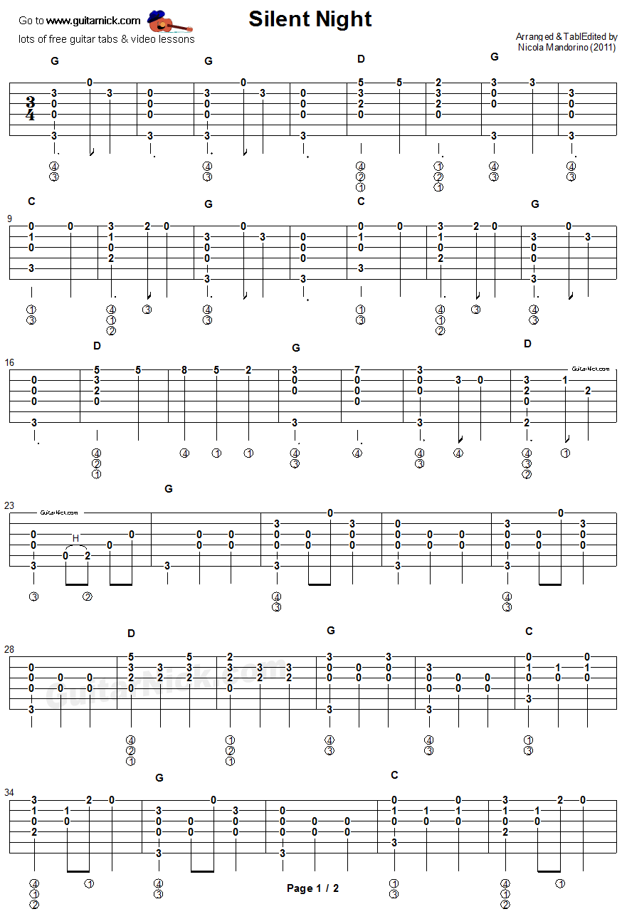 Silent Night Fingerstyle Guitar Tablature 1 Holidays In 2018