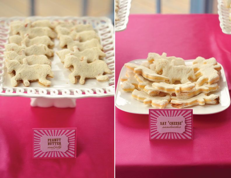 Simple Party Food Idea: Serve Sandwiches, but use a cookie cutter to cut them into cute shapes! #partyidea #partyfood #kidsparty