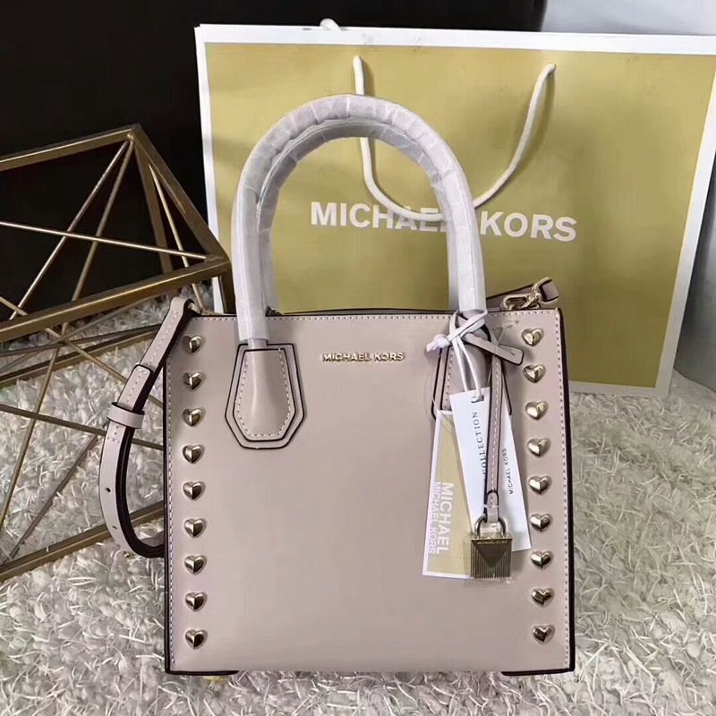 ae89089afe989 MICHAEL Michael Kors Mercer Heart Studded Leather Tote Apricot ...