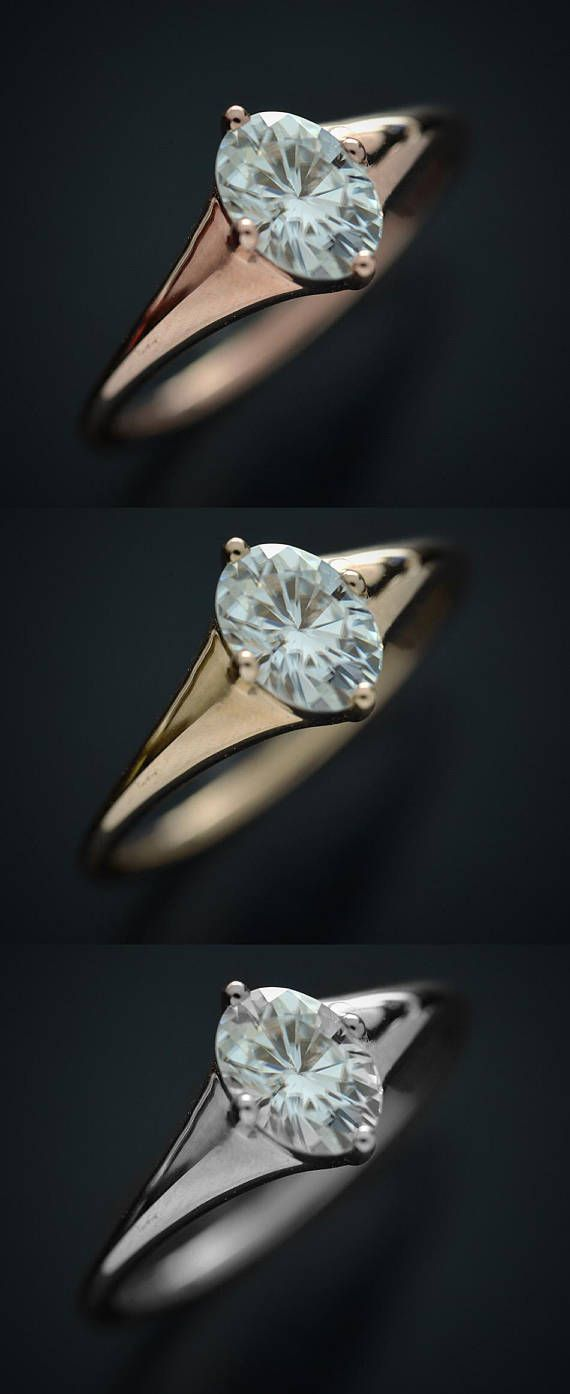 Oval moissanite engagement ring in kt white pink or yellow gold