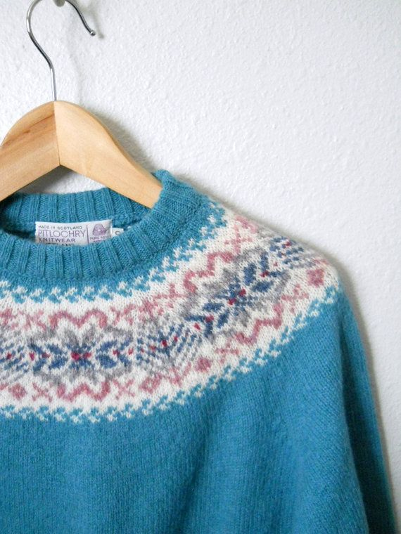 Vintage 80s scottish turquoise blue fair isle sweater / womens ...