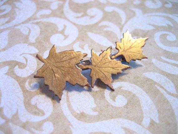 Vintage Art Nouveau Maple Leaf Pin by charmingellie on Etsy, $14.00