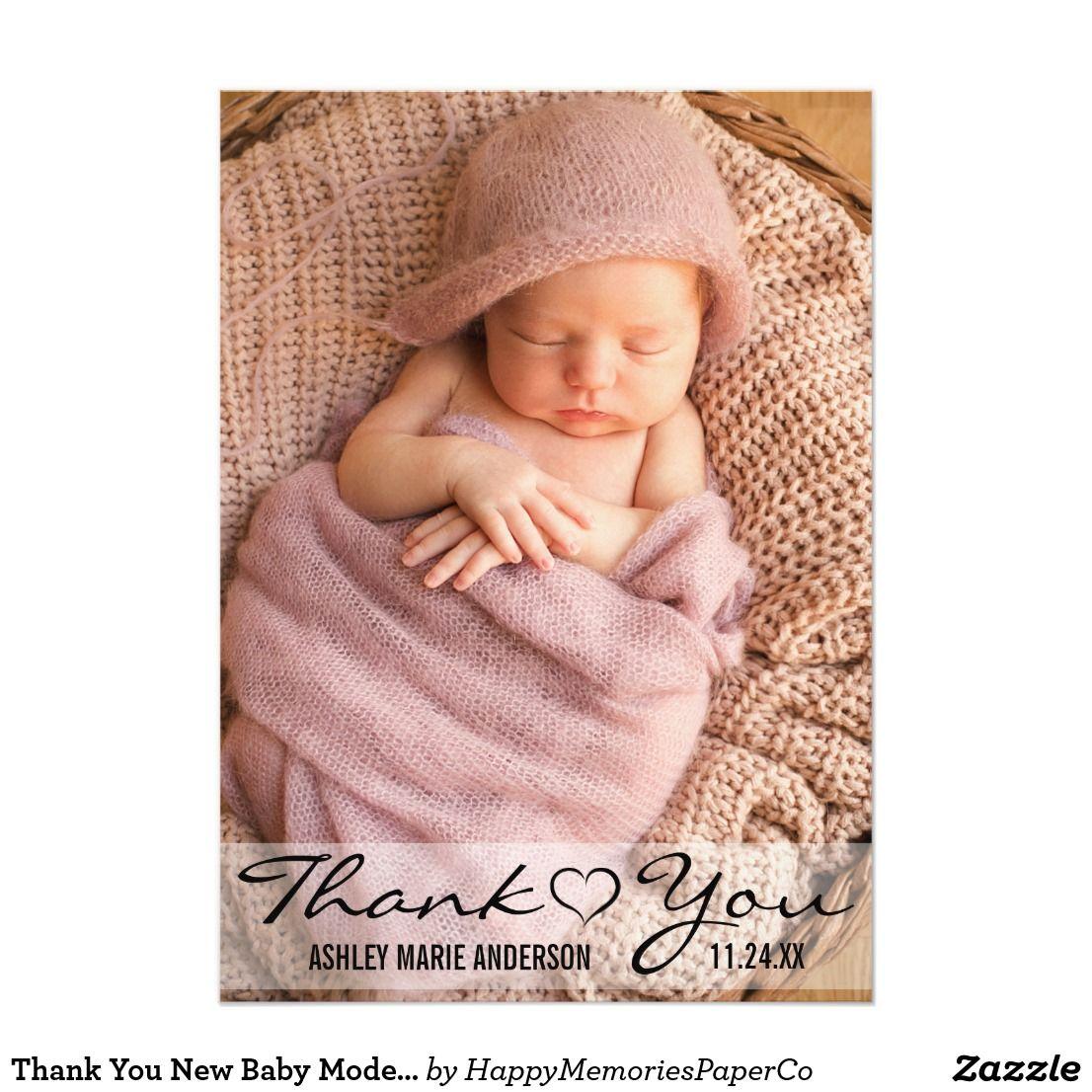 thank you new baby modern photo heart card  zazzle