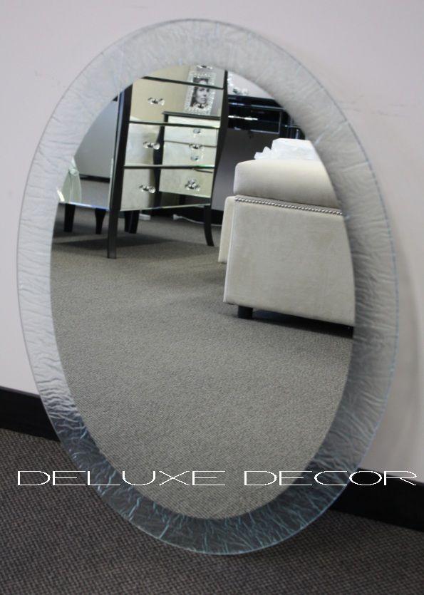 Oval Ice Veins Textured Wall & Bathroom Mirror 0003 (800 x 600 mm ...