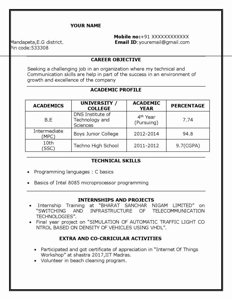 Sample Resume for Freshers Elegant Sample Resume for B