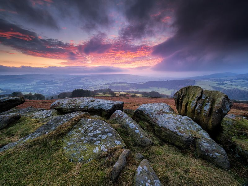 Peak District Afterglow, Carhead, England by Stephen Elliott  I had a brilliant day exploring one of the Peak District's hidden brooks in the afternoon, then almost gave up on trying for a sunset as it had gone very grey and overcast; but a hint of brightness breaking through as I drove into Hathersage had me up at Carhead rocks on the off chance that the... http://lp-mag.com/qkkg