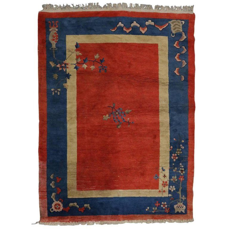 Antique Art Deco Chinese Nichols Rug Urn And Floral 20th Century Antique Art Deco Antiques Rugs