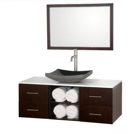 Wyndham Collection Abba 48 inch Single Bathroom Vanity, Espresso, White Man-Made Stone Countertop, Pyra White Porcelain Sink and 36 inch Mirror, Brown