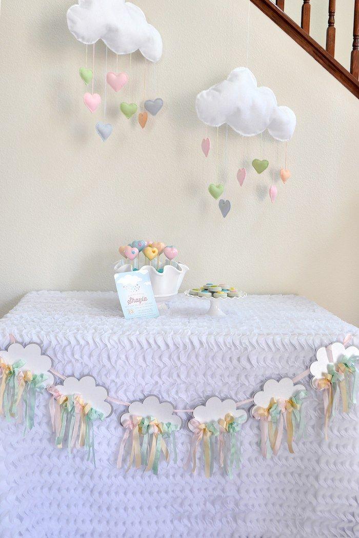 Decoraç u00e3o mesa e parede festa nuvens e arcoíris Aniversários Decoraç u00e3o chuva de benç u00e3os  -> Decoração Chá De Bebê Nuvem