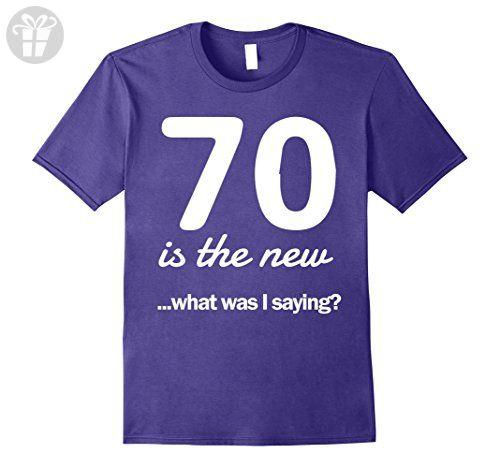 Mens 70 is the new what was I saying 70th birthday t-shirt Medium Purple - Birthday shirts (*Amazon Partner-Link)