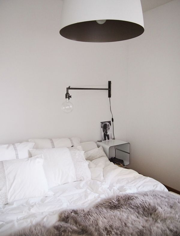 Bedroom lighting: white lamp shade with matte black interior via ...