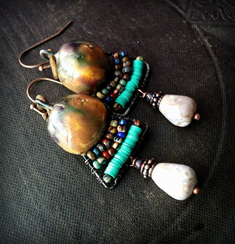 Porcelain, Wire Work, Rustic, Hoops, Clay, Tribal, Primitive, Agate, African Beads, Wire Wrapped, Organic, Beaded Earrings by YuccaBloom on Etsy