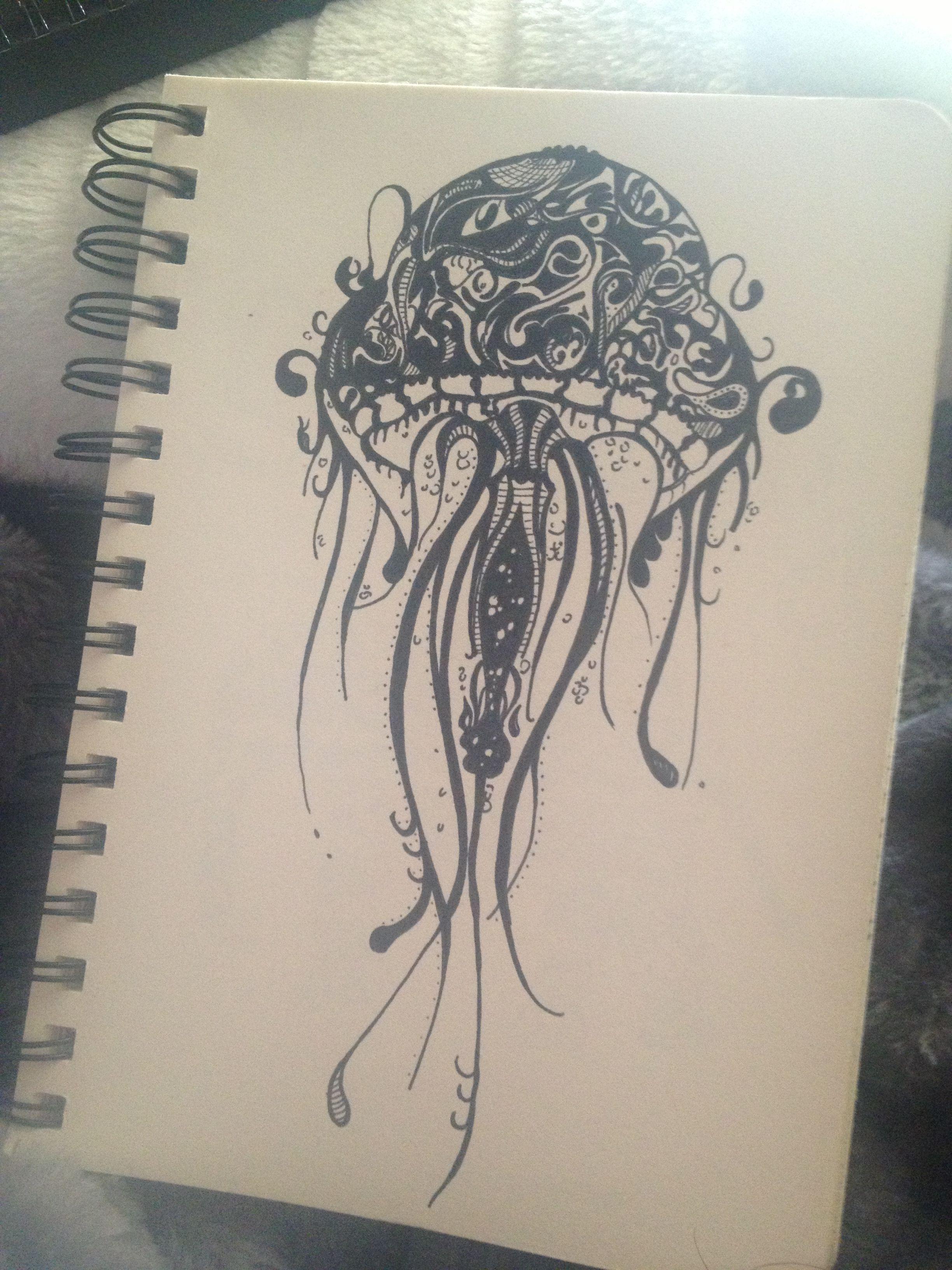 Line Drawing Jellyfish : Drawing jellyfish doodle pattern art