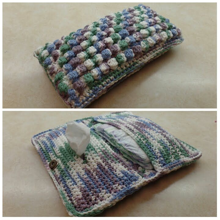 Crochet How To Crochet Bobble Stitch Diaper Wipe Holder Bag