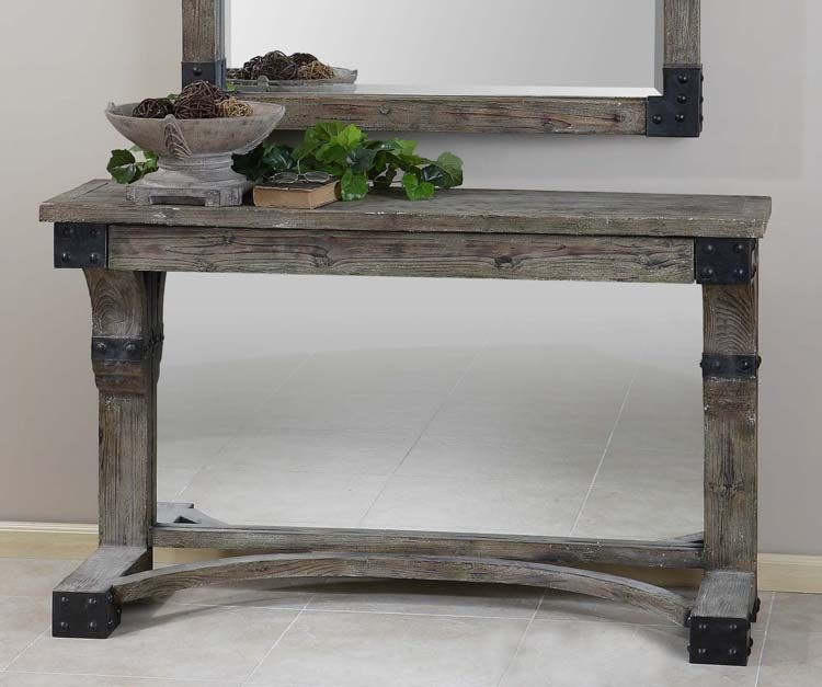 Weathered Gray Console Table Western Sofa Tables Weathered Solid Fir Wood With An Aged Gray Rustic Furniture Design Rustic Console Tables Gray Console Table