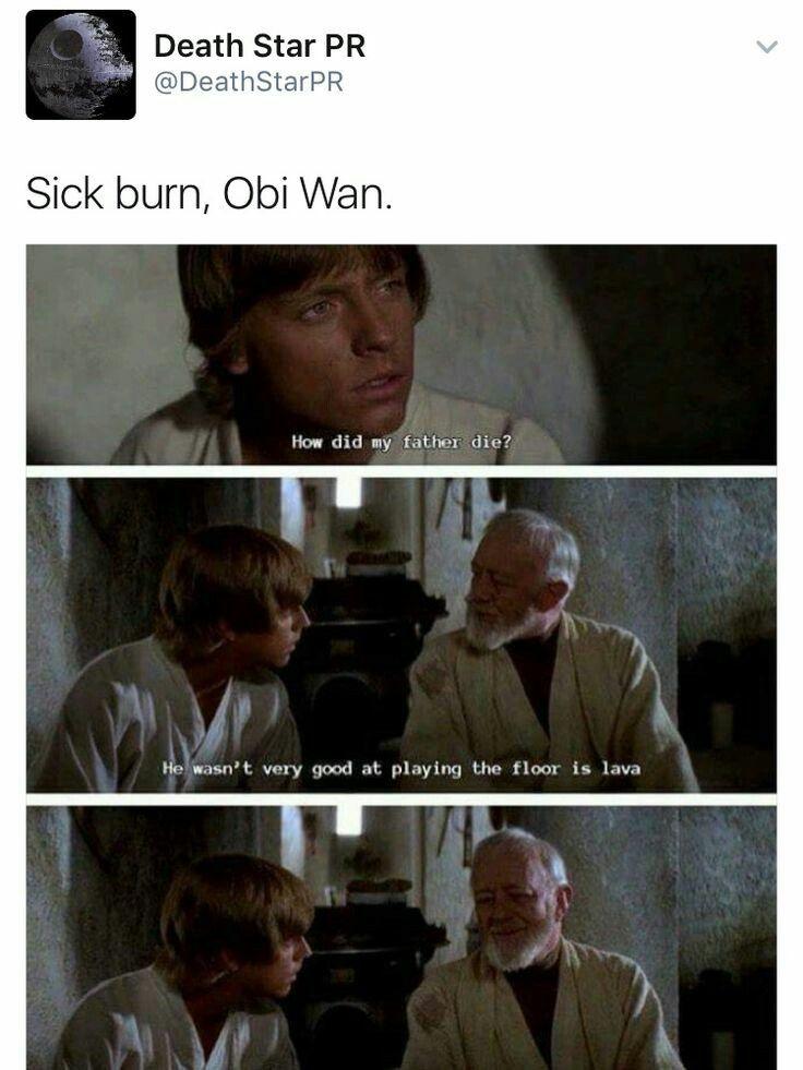 Sick Burn Obi Wan Starwarsmeme Starwars Jedi Funny Meme Star Wars Humor Star Wars Memes Star Wars Jokes