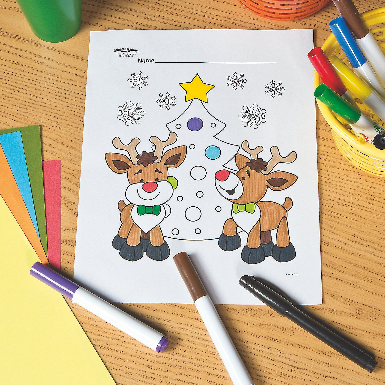 Reindeer With Christmas Tree Free Printable Coloring Page