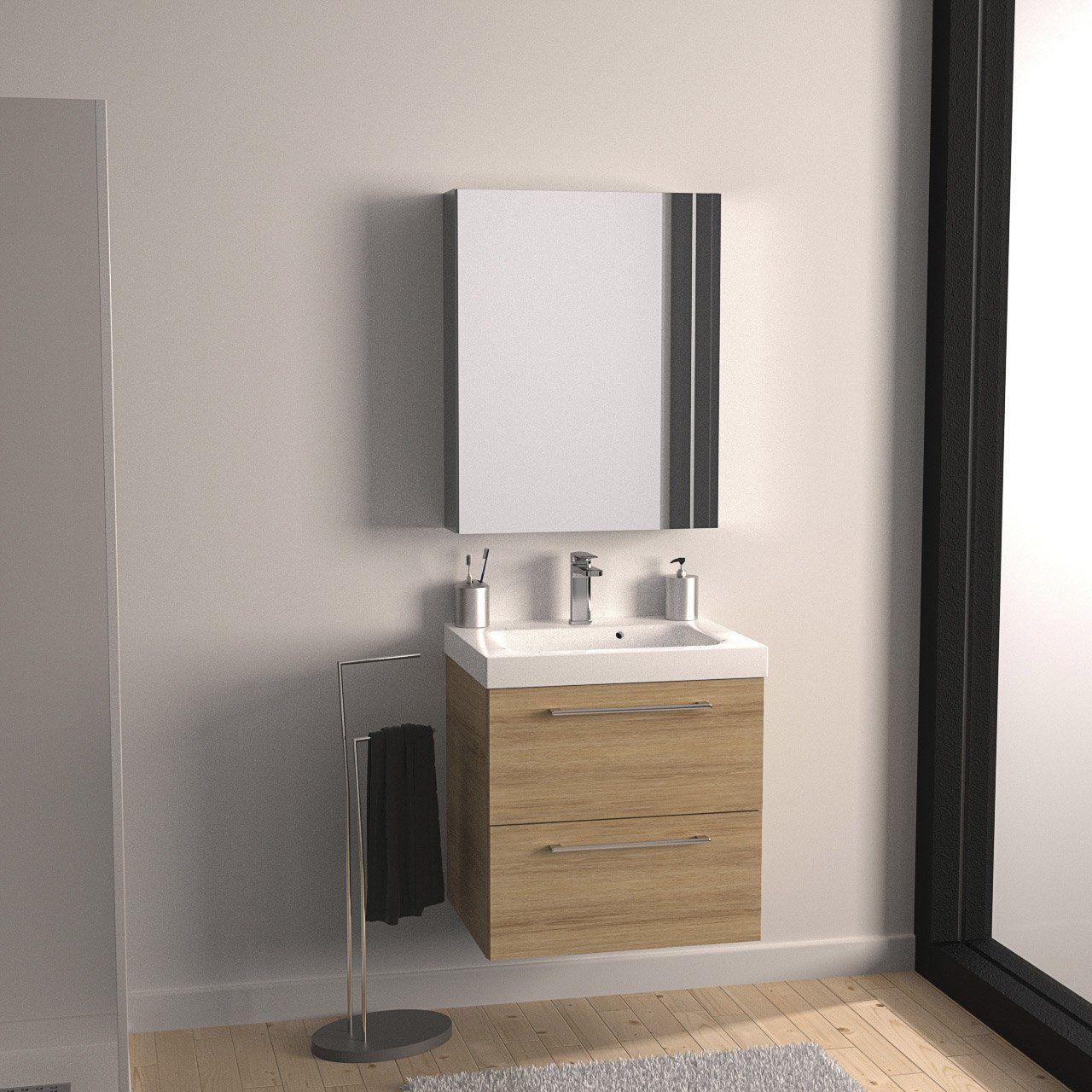 meuble de salle de bains remix imitation ch ne 61x48 5 cm 2 tiroirs leroy merlin home sweet. Black Bedroom Furniture Sets. Home Design Ideas