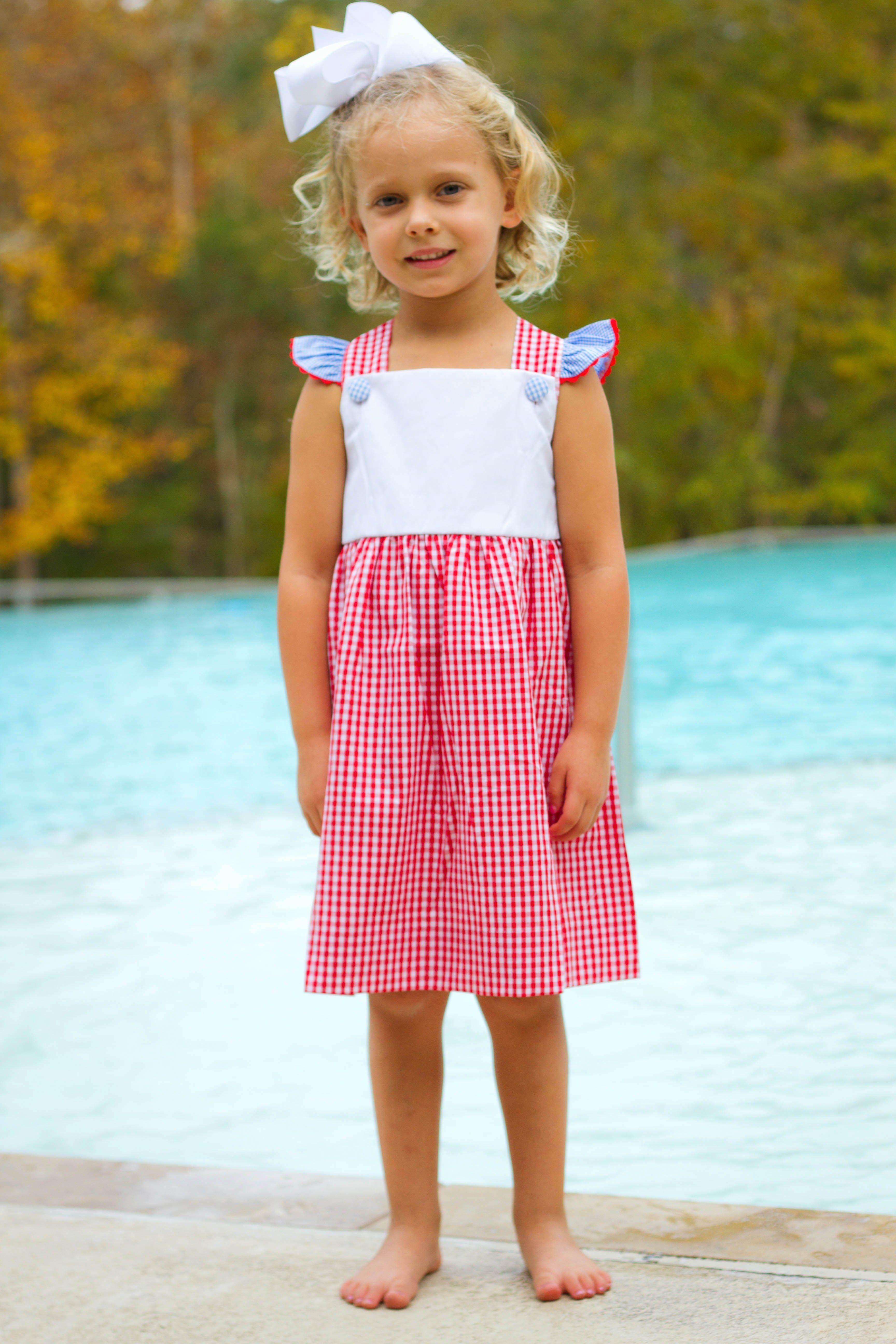 aa7e9d1d7a RWB PREORDER 6: Red White and Blue Gingham Ric Rac Dress Monogrammed  Purses, Blue