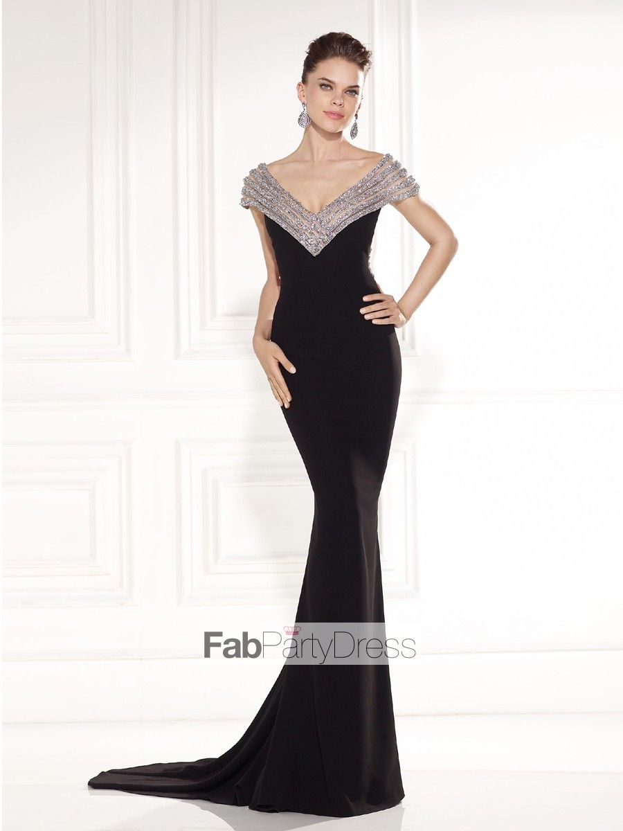 Trumpet mermaid vneck beading short floorlength chiffon prom