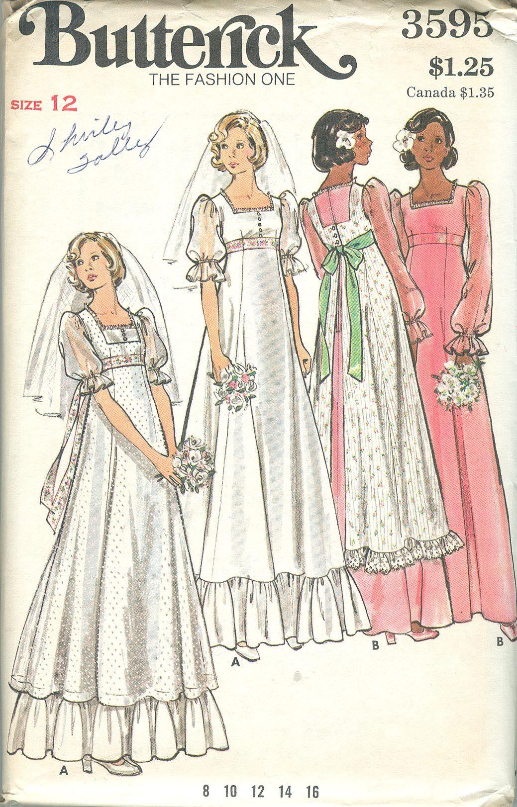 Butterick 3595 c vintage 1970s prairie wedding dress and for Butterick wedding dress patterns