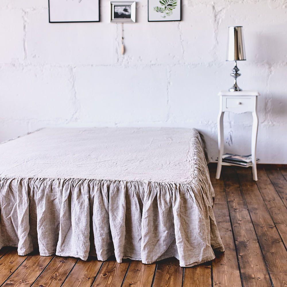 BED SKIRT Dust ruffle 100 French Linen coverlet linen