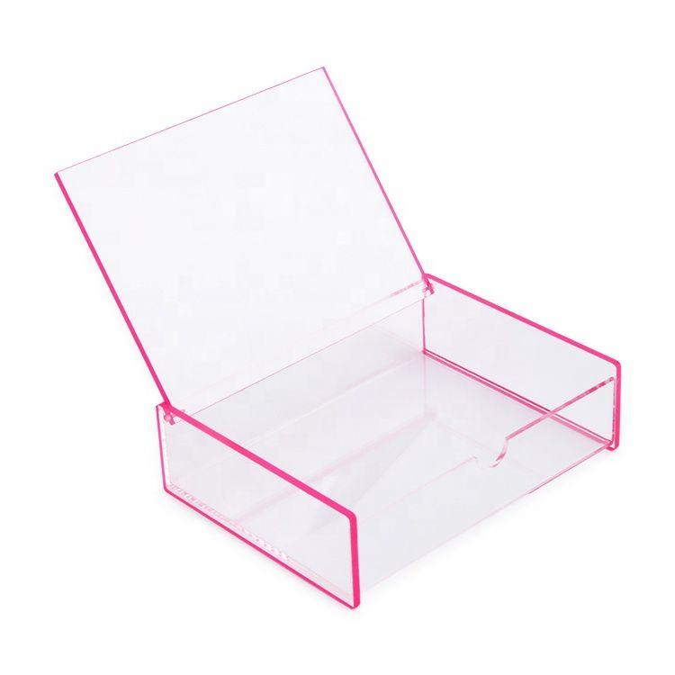 Neon Pink Edge Acrylic Plexiglass Necklace Holder Jewelry Box With Flip Lid Storageboxes Deskorganizer Neonpink Acrylic Box Plexiglass Acrylic Designs