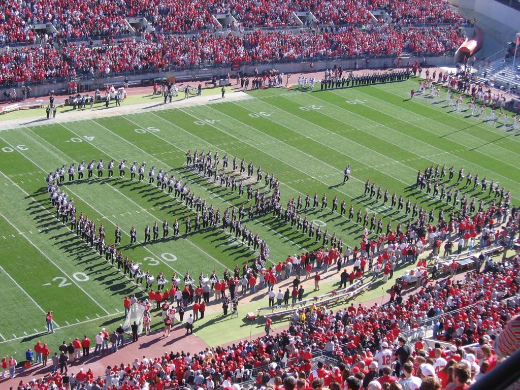 Script Ohio, courtesy of TBDBITL.  Someday, I will witness this live and in person.  One great tidbit - when they perform this maneuver in Ann Arbor (and other select locations), they shuffle their feet instead of marching - they scuff the field and leave the pattern visible in the grass.  Awesome!