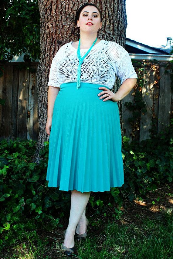 Plus Size - Vintage Turquoise Pleated Midi Skirt (Size 18 ...